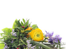 Green bouquet with yellow buttercups and lilac freesias Royalty Free Stock Photos