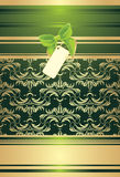 Green bow with card on the decorative background Royalty Free Stock Photography