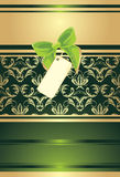 Green bow with card on the decorative background Stock Image
