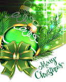 Green bow and Christmas bauble Stock Images