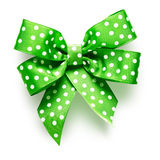 Green bow with dots Stock Photo