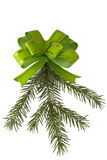 Green bow and fur-tree branch. On a white background is isolated Royalty Free Stock Images