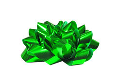 Green bow isolated on white background. For Christmas, birthday anniversary or Valentine presents Stock Images