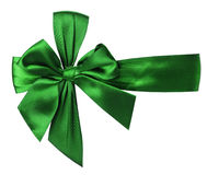 Green bow isolated on the white background Stock Photos