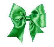 Green bow made from silk Royalty Free Stock Image