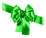 Green bow made from silk Stock Images