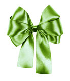 Green bow made from silk ribbon Royalty Free Stock Image