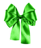 Green bow made from silk ribbon Stock Photos