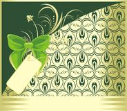 Green bow with ornament. Decorative card Stock Images