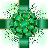 Green bow with ribbon Stock Photos