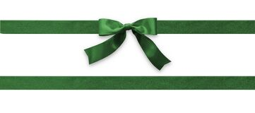 Free Green Bow Ribbon Band Satin Emerald Stripe Fabric Isolated On White Background With Clipping Path For Christmas Holiday Gift Box Royalty Free Stock Photos - 186080978
