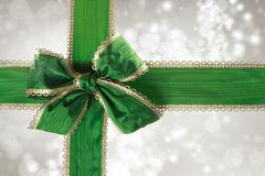 Green Bow and Ribbon with Bokeh Lights Stock Photography