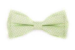 Green bow tie with white polka dots Stock Photography