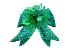 Green bow on white background Stock Photo