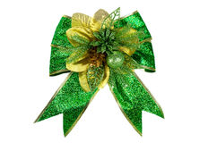 Green bow on white background Stock Image