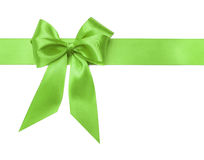 Green bow on white background. Royalty Free Stock Photography