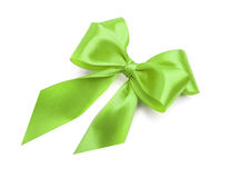 Green bow on white background. Royalty Free Stock Photos