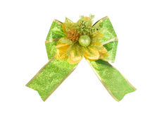 Green bow on white Royalty Free Stock Photo