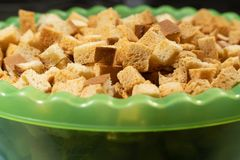 Bowl with bread crackers close-up stock photos