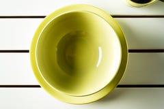 Green bowl and dish. Stock Image