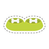 Green bowl food water pet animal line dotted Stock Photo