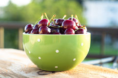 Green bowl full of ripe cherry. Selective focus.  Royalty Free Stock Photo
