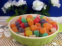 Green bowl of gumdrops Royalty Free Stock Images