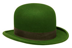 Green bowler or derby hat. Isolated against white background Stock Image