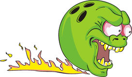 Green bowling ball with flame. Color vector illustration Royalty Free Stock Photo