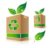 Green box. With leaves and recycling symbol vector illustration