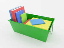Green Box with Books. Green Box with more than five colored books Royalty Free Stock Images