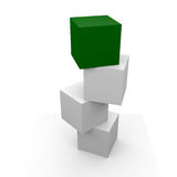 Green box. Four boxes the top one is green Stock Photo