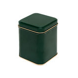 Green box with a gold stripe stock photo