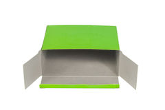 Green Box with lid open or green paper package box isolated on W. Hite background stock photo