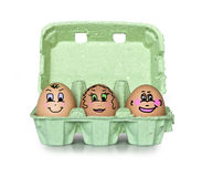 Green box of little people eggs Royalty Free Stock Photos