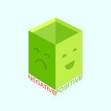 Green box, Positive and Negative. Stock Image