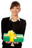 Green Box With Yellow Bow As A Gift Royalty Free Stock Photos
