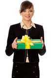 Green Box With Yellow Bow As A Gift Royalty Free Stock Photography