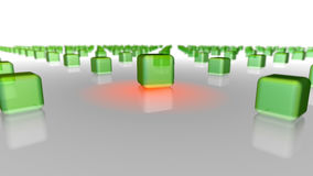 Green boxes crwod with a chosen one. Shining cube in green round cubes crowd on grey mirror plane - white background vector illustration