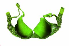 A green bra close-up on the white background Royalty Free Stock Photography