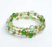 Green bracelet with crystall. And beads Royalty Free Stock Image