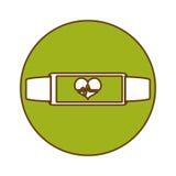Green bracelet heart cardiology icon. Image,  illustration Royalty Free Stock Images