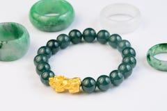 Free Green Bracelet Jade With Jadeite Ring On Background Stock Photo - 193914340