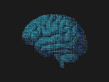 Green brain with digital text composition in Stock Photos
