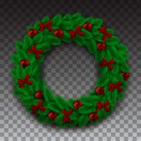 Green Branch of Spruce in the Form of a Christmas Wreath With Shadow. Red Bow Balls and Beads on the Background Checkers. Vector Illustration Royalty Free Stock Photo