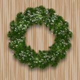 A green branch of spruce in the form of a Christmas wreath with shadow and snowflakes. against the background of natural. Wood. Vector illustration Stock Photography
