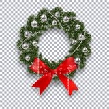 A green branch of spruce in the form of a Christmas wreath with shadow and snowflakes. Red bow, silver balls and beads Stock Photos