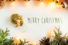 Green branches and amazing beautiful christmas golden vintage ga Royalty Free Stock Photos