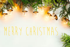 Green branches of cedar and amazing beautiful christmas vintage Stock Images