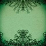 Green branches forming a frame on an old paper texture royalty free illustration